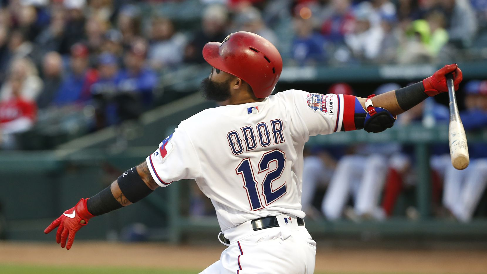 ARLINGTON, TX - APRIL 1: Rougned Odor #12 of the Texas Rangers flies out against the Houston Astros during the first inning at Globe Life Park in Arlington on April 1, 2019 in Arlington, Texas. (Photo by Ron Jenkins/Getty Images)