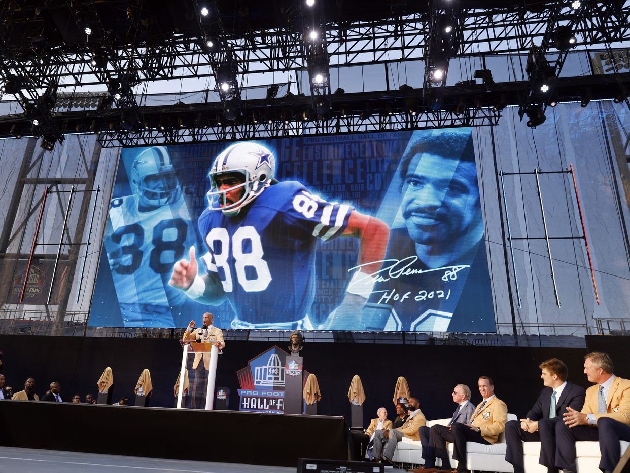 Pro Football Hall of Fame inductee Drew Pearson of the Dallas Cowboys delivers his acceptance speech during the Class of 2021 enshrinement ceremony at Tom Benson Hall of Fame Stadium in Canton, Ohio, Sunday, August 8, 2021. (Tom Fox/The Dallas Morning News)