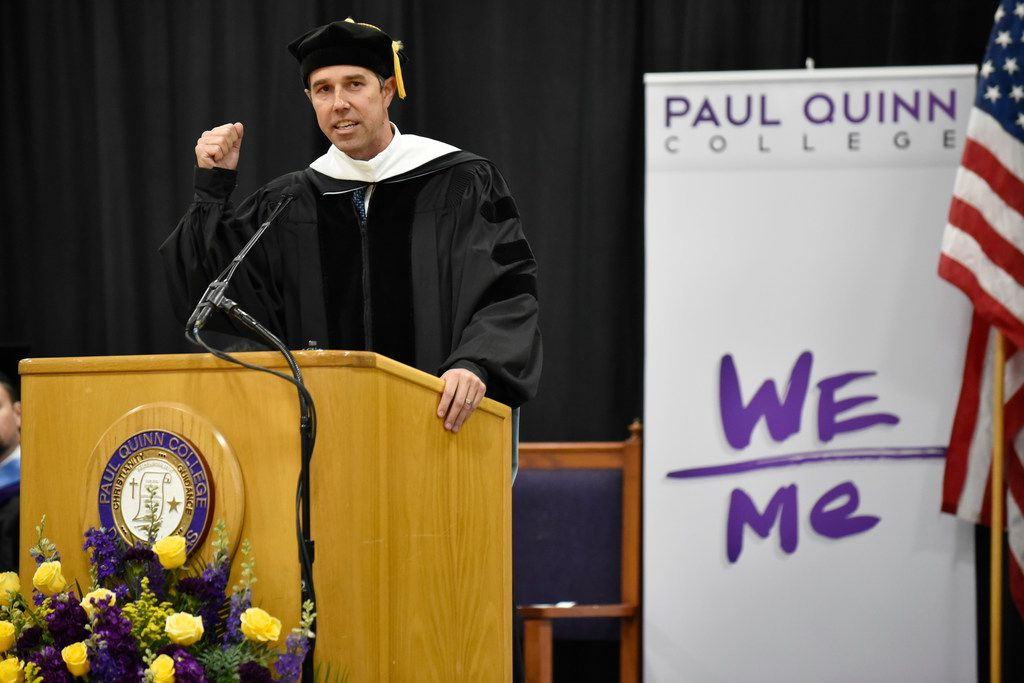 Presidential candidate Beto O'Rourke delivers his address at Paul Quinn College's 143rd commencement convocation on Saturday, May 4, 2019.