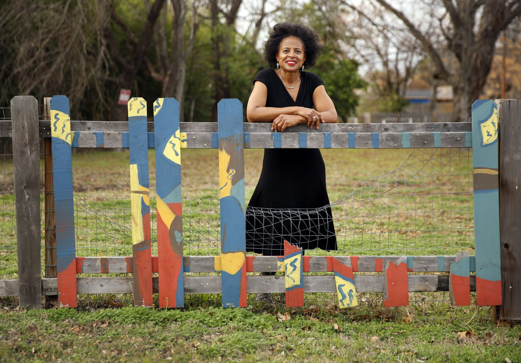 Alendra Lyons is shown at the intersection of Collins Avenue and Clarkson Street in the Mill City neighborhood of South Dallas. DISD students painted a fence around a property that has since fallen into disrepair.
