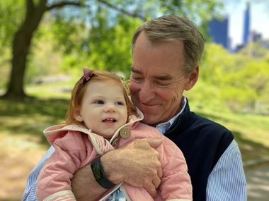 Former AMR Corp. CEO Tom Horton with his granddaughter, Gianna Horton, who has a rare genetic disorder called FOXG1 Syndrome. Horton, who headed American Airlines until 2013, is trying to raise awareness for the syndrome.