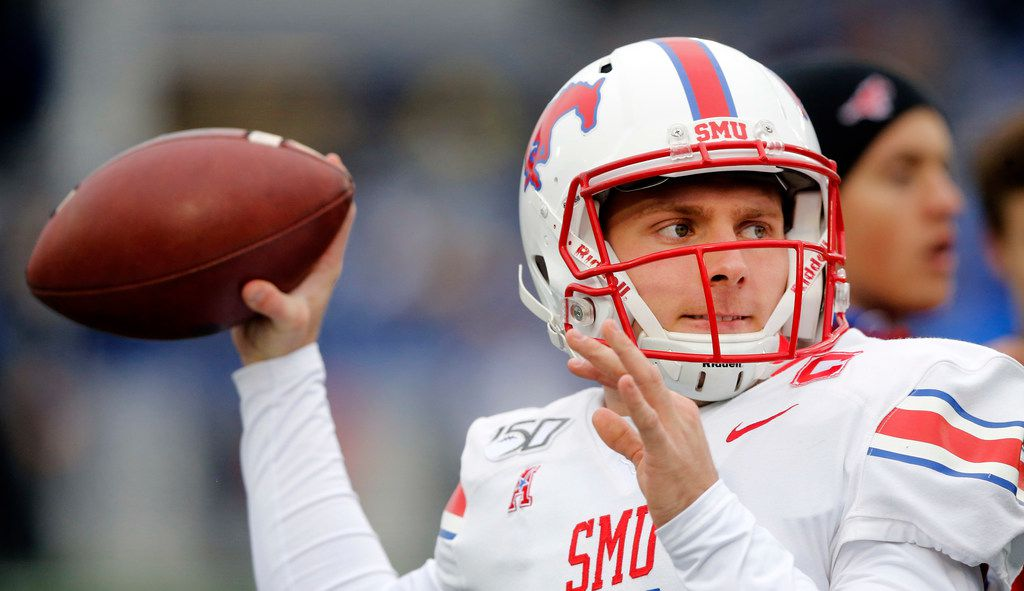 Southern Methodist Mustangs quarterback Shane Buechele (7) throws passes during pregame warmups before facing Navy at Navy-Marine Corps Memorial Stadium in Annapolis, Maryland, Saturday, November 23, 2019.