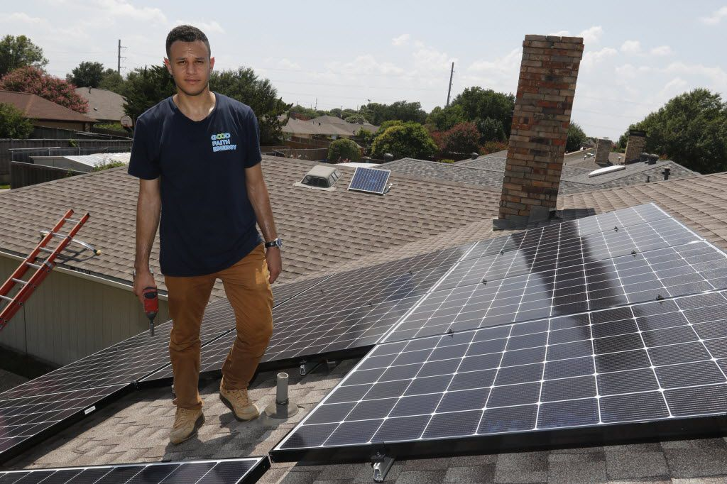 Mohammed Abdalla, owner of Good Faith Energy, poses for a portrait on a roof where he and his crew installed solar panels in Richardson. Abdalla worked with Allen residents trying to amend the city's solar panel ordinance to allow for solar panel installation on front roofs facing residential streets. (David Woo/The Dallas Morning News)