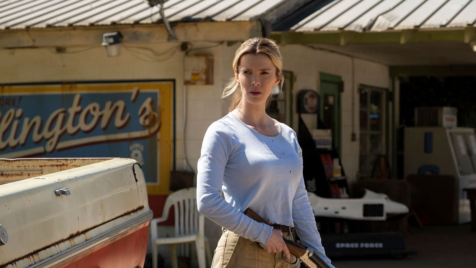 "Betty Gilpin stars in ""The Hunt,"" which saw its opening pushed back several months after a deadly shooting spree at an El Paso Walmart."