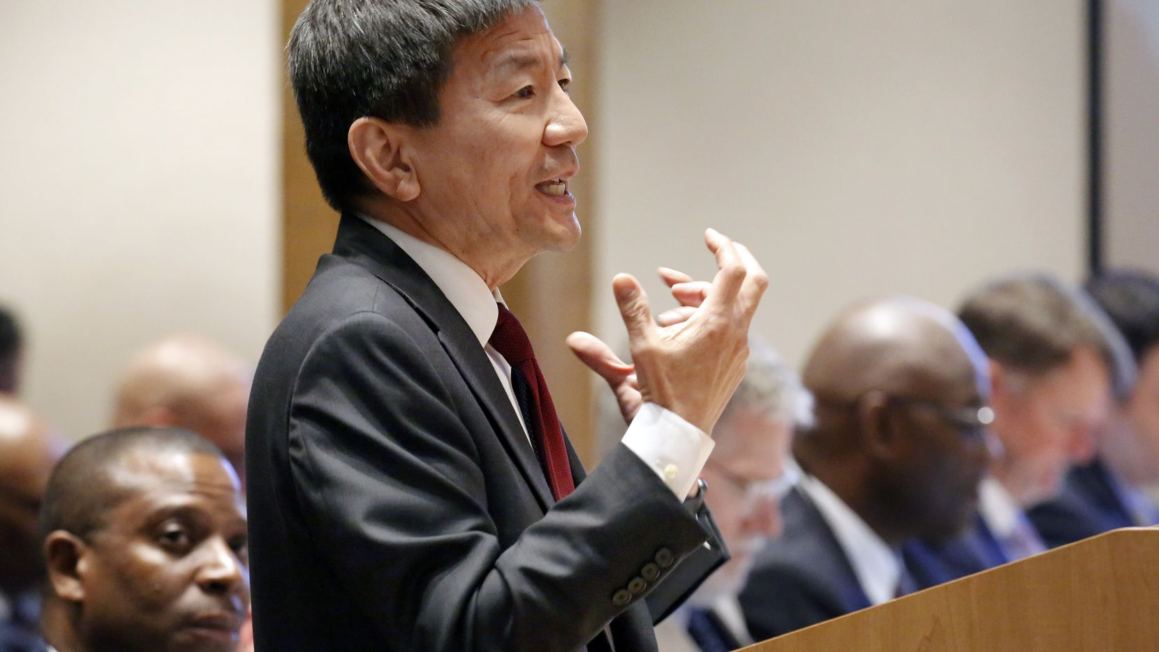 Dallas County Health Department director Dr. Philip Huang presents information about the coronavirus at the Dallas County Commissioner Court in Dallas, Tuesday, February 4, 2020.