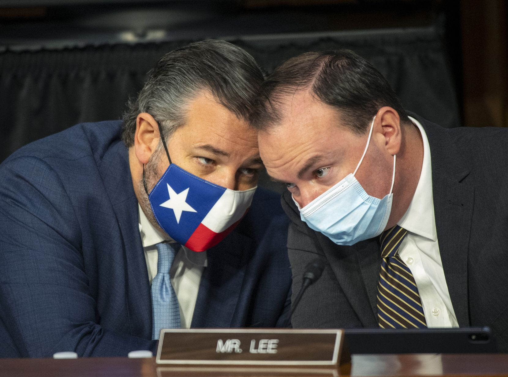 Sens. Ted Cruz of Texas and Mike Lee of Utah spoke during the fourth day of Judge Amy Coney Barrett's Supreme Court confirmation hearing, on Oct. 15, 2020.