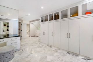 The closet features heated marble floors imported from Turkey.