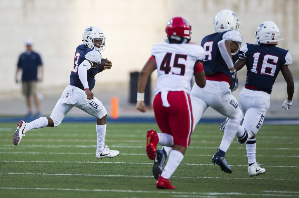 Allen quarterback Raylen Sharpe (3) runs the ball to the end zone for a touchdown during the first quarter of a high school football game between Allen and Cedar Hill on Friday, August 30, 2019 at Eagle Stadium in Allen. (Ashley Landis/The Dallas Morning News)