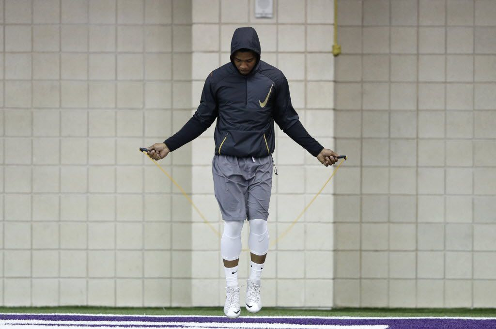 TCU's Trevone Boykin uses a jumprope before position drills during Pro Day at TCU in Fort Worth on Thursday, March 31, 2016. (Vernon Bryant/The Dallas Morning News)