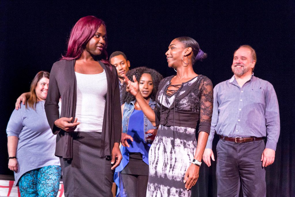 Shannon Walker (left) and Meiko Hicks starred in In the Tall Grass, a play about the murder of Shade Schuler that premiered at the Bishop Arts Theatre in September 2017.