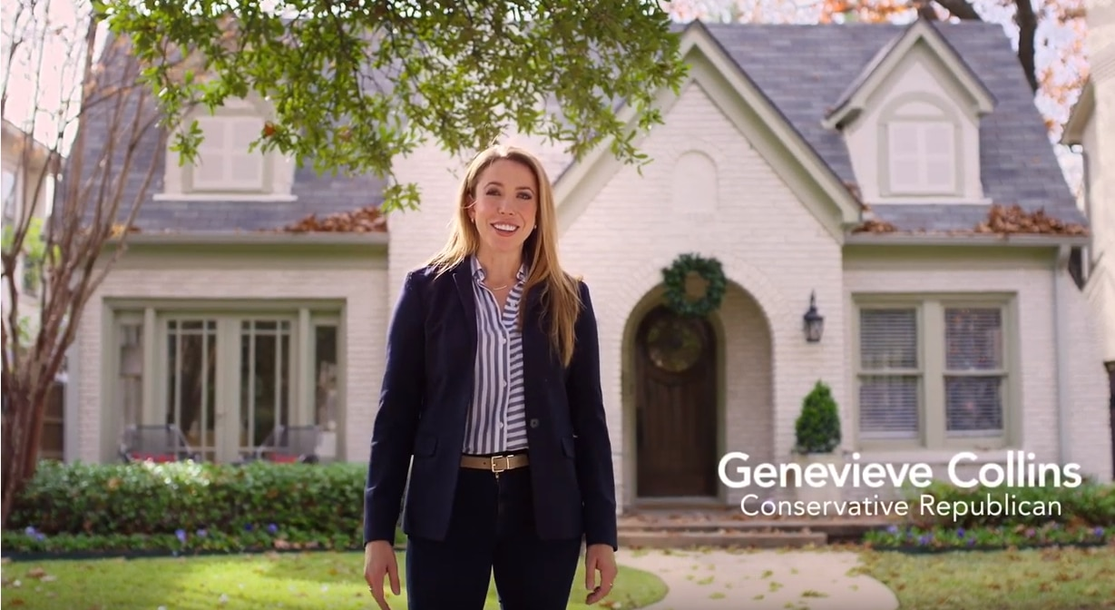 Dallas Republican Genevieve Collins, seen here in her first digital advertisement, is seeking to defeat Rep. Colin Allred, D-Dallas.