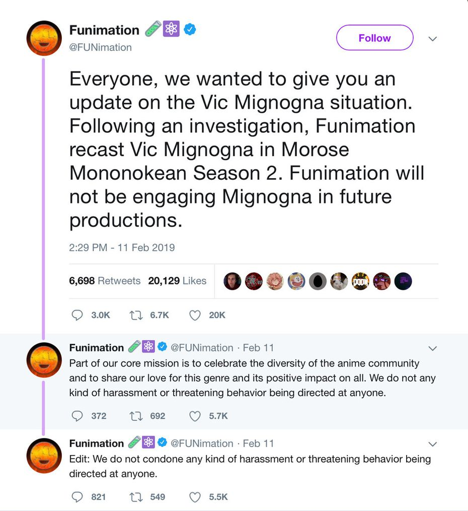 Funimation's tweets after its investigation and termination of Vic Mignogna.