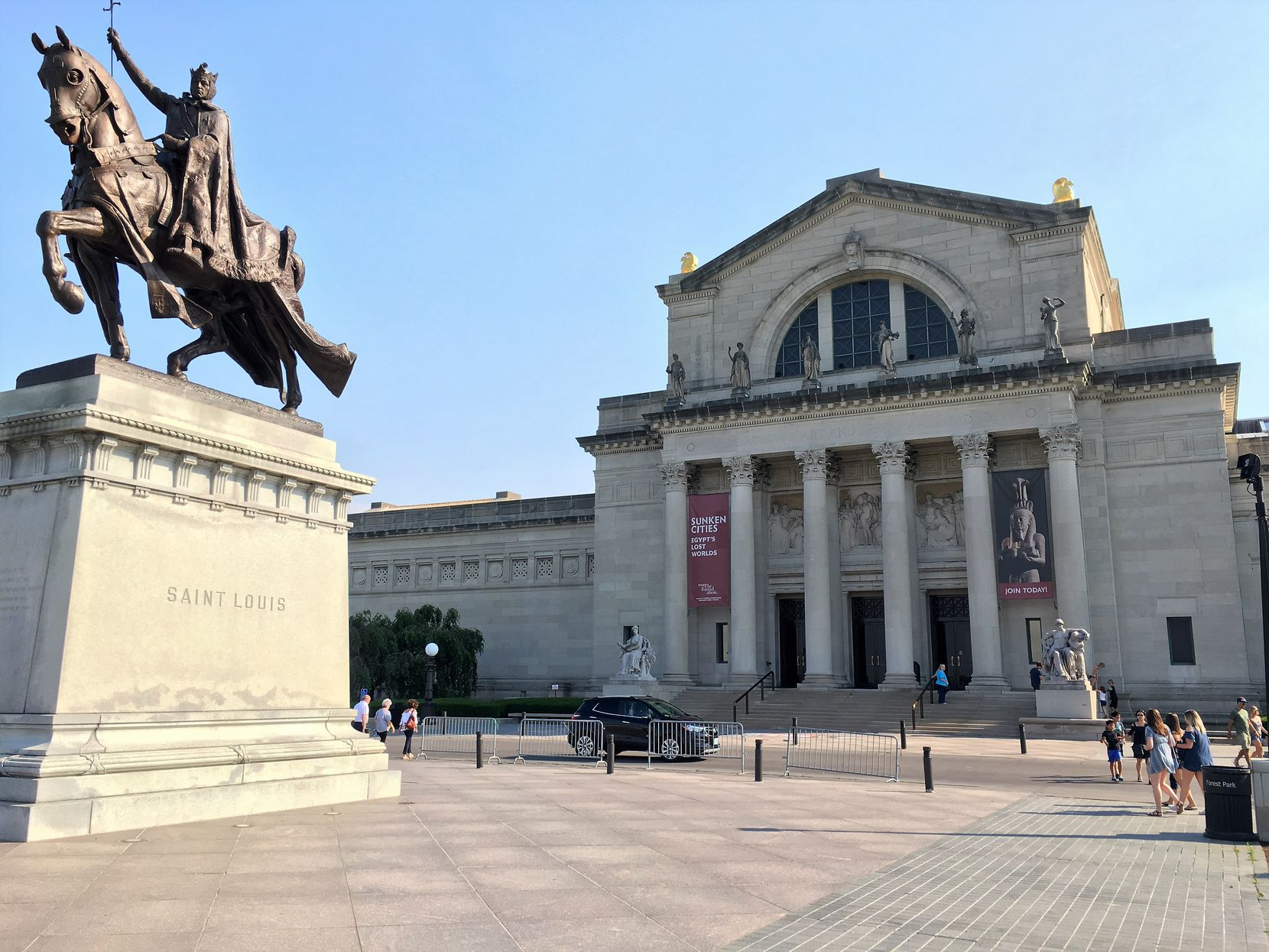 Visitors to the St. Louis Art Museum are greeted by a statue of the French King Louis IX, for whom the city was named by its French founders.