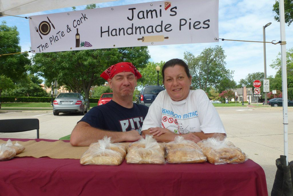 Jami Bishop Fleming and sous chef Joe Ross bake the pies   from handheld to full-size   at Jami's Pies.
