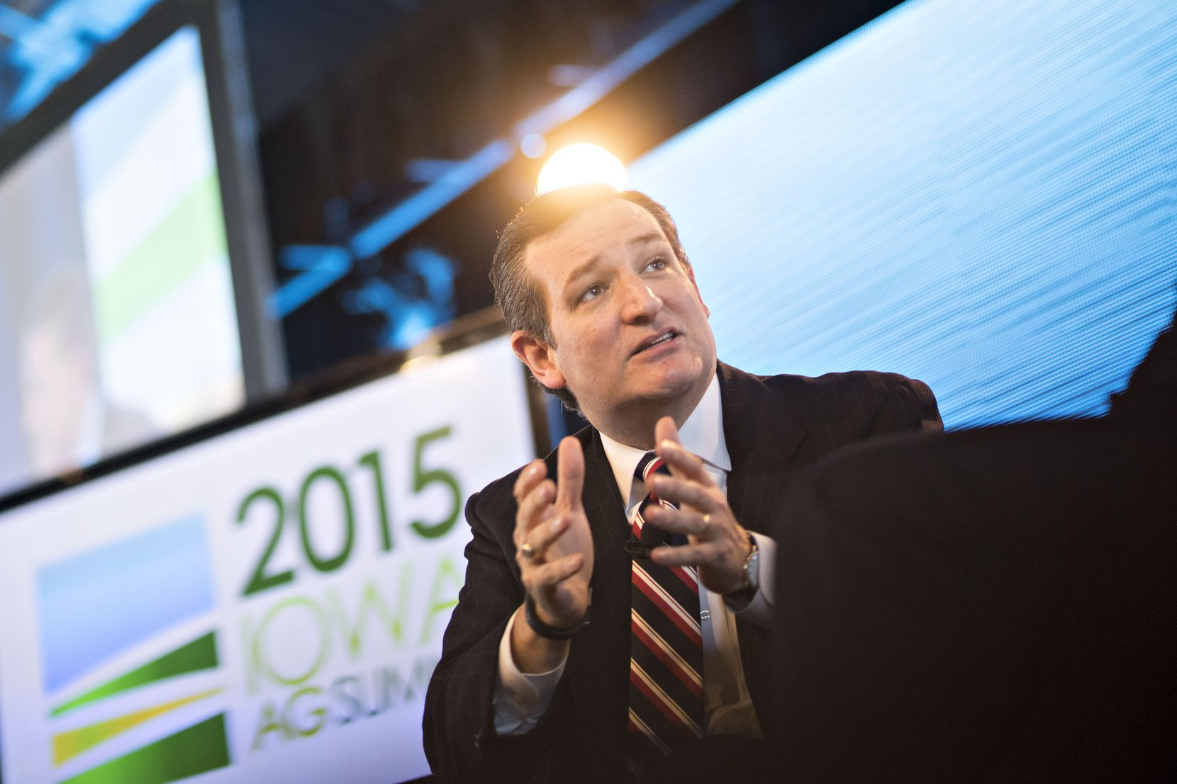 Senator Ted Cruz speaks at the Iowa Ag Summit at the Iowa State Fairgrounds in Des Moines on March 7, 2015. Cruz used the platform to defend his push to end a federal mandate to blend ethanol — much of it from corn — into gasoline and diesel.