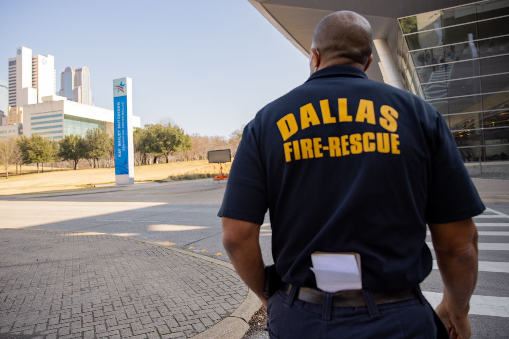 Dallas Fire-Rescue works to prepare the drive-up vaccine clinic at Kay Bailey Hutchison Convention Center in Dallas on Wednesday, Jan. 27, 2021. (Juan Figueroa/ The Dallas Morning News)