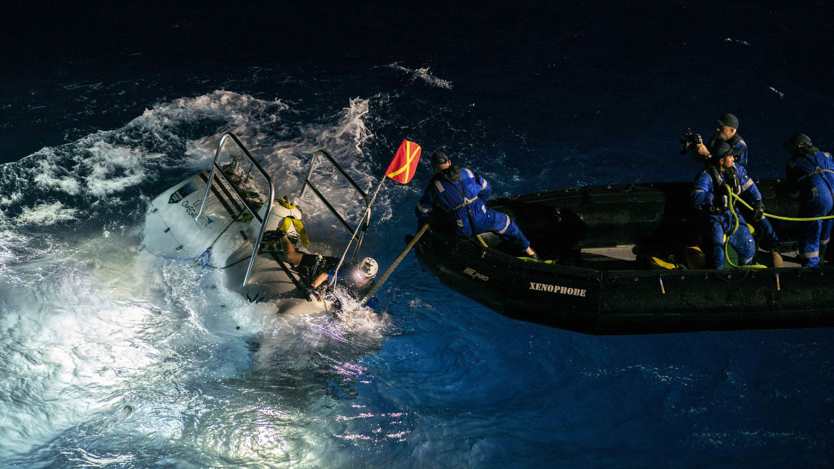 The Limiting Factor being recovered after its first dive to the deepest point of the Challenger Deep.