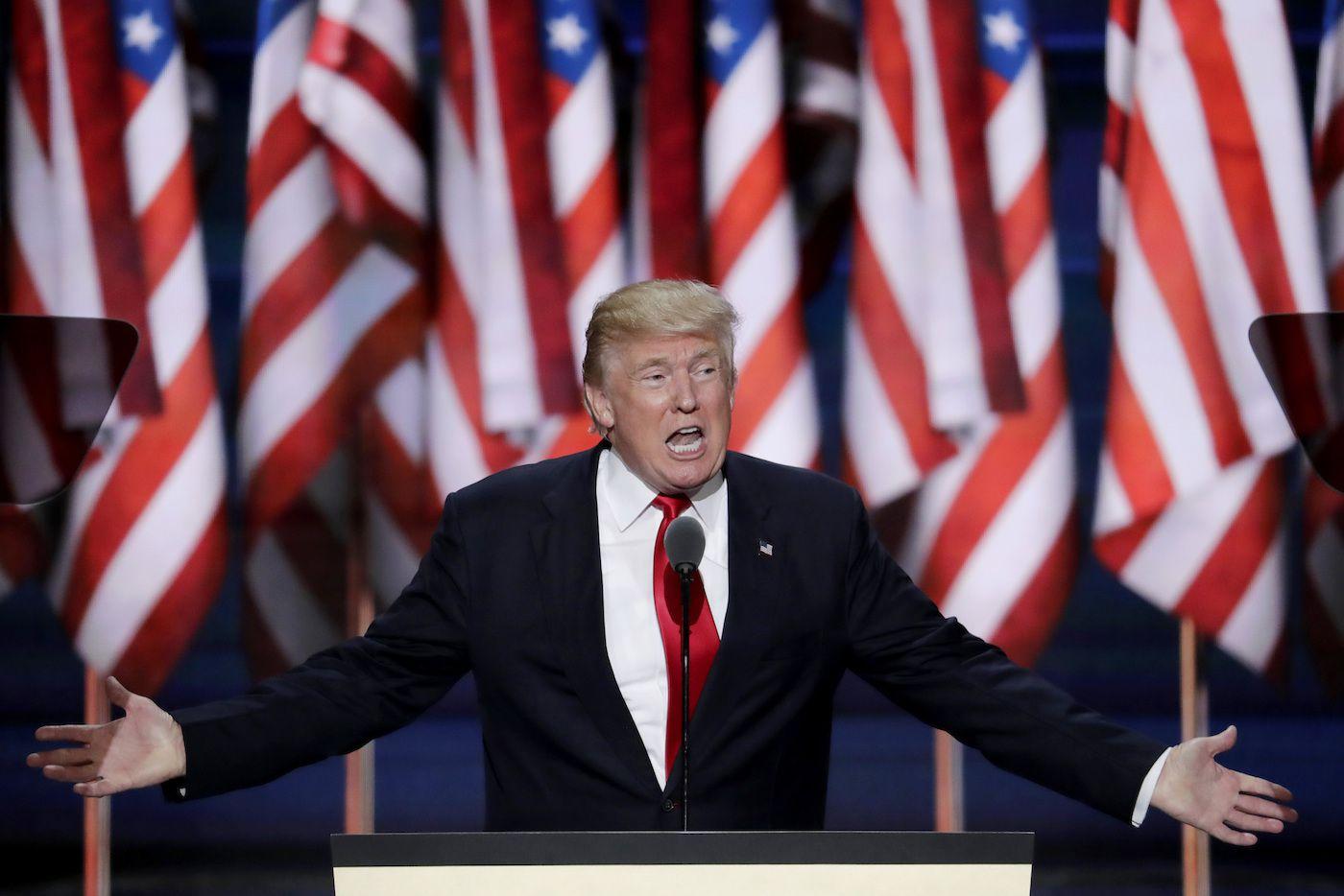 El empresario Donald J. Trump aceptó el jueves por la noche la nominación del partido republicano para contender por la presidencia de Estados Unidos. (AP)