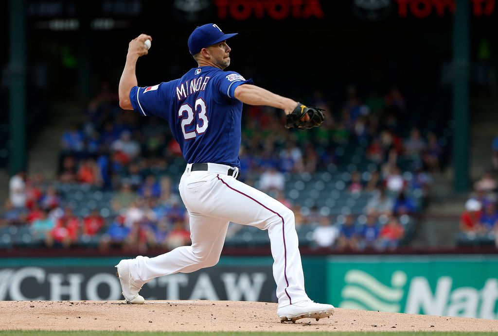ARLINGTON, TX - JUNE 5: Mike Minor #23 of the Texas Rangers throws against the Baltimore Orioles during the first inning at Globe Life Park in Arlington on June 5, 2019 in Arlington, Texas.  (Photo by Ron Jenkins/Getty Images)