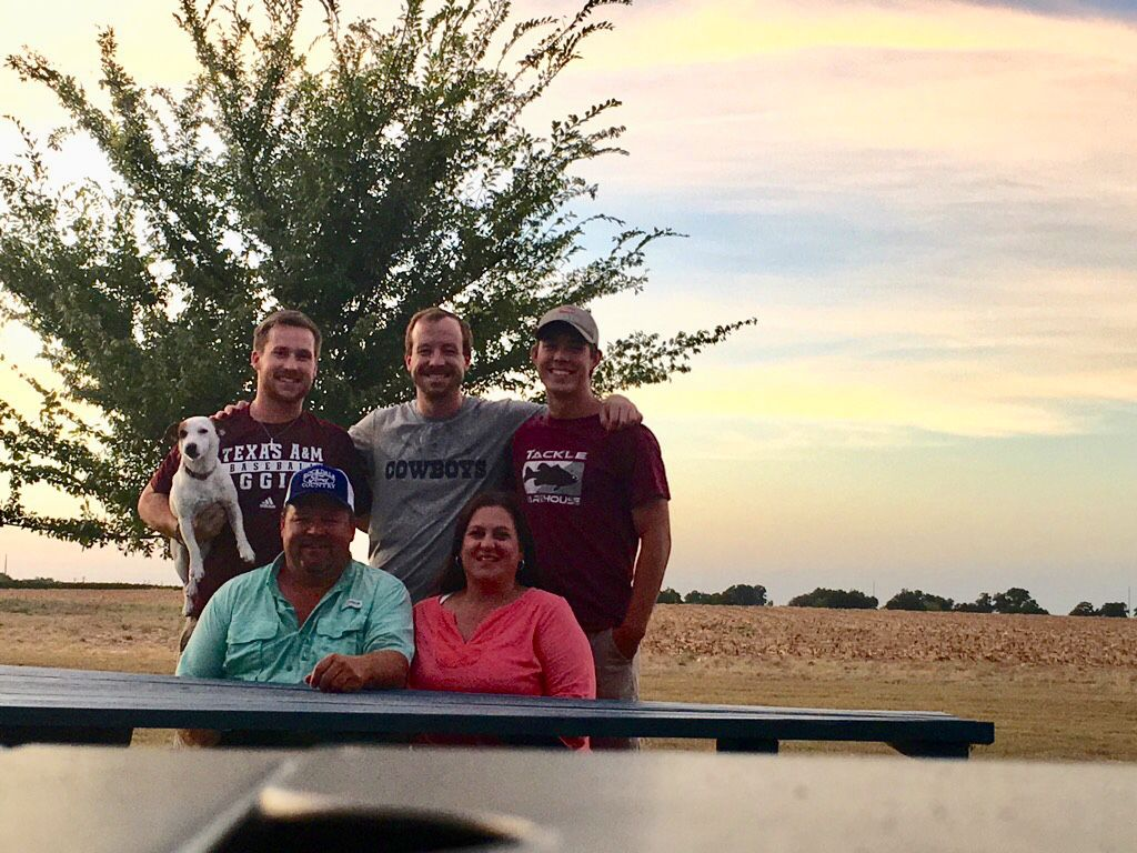Kevin Barchenger (bottom left) and family members.