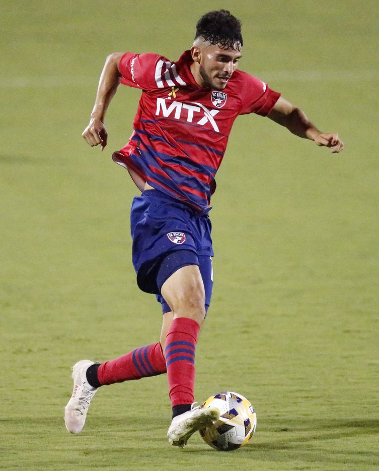 FC Dallas forward Ricardo Pepi (16) breaks away but was unable to score during the first half as FC Dallas hosted Sporting Kansas City at Toyota Stadium in Frisco on Wednesday, September 29, 2021. (Stewart F. House/Special Contributor)