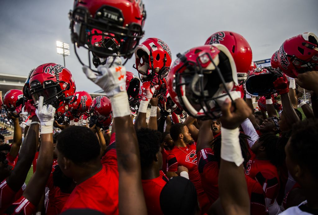 Cedar Hill football players rally before a high school football game between Allen and Cedar Hill on Friday, August 30, 2019 at Eagle Stadium in Allen. (Ashley Landis/The Dallas Morning News)