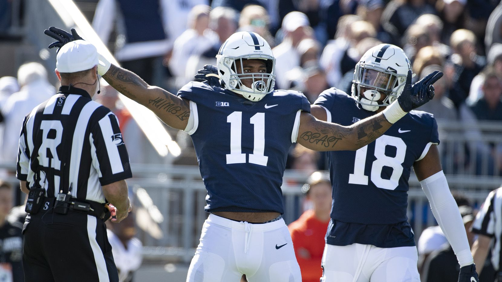 Penn State linebacker Micah Parsons (11) and defensive end Shaka Toney (18) celebrate a sack of Purdue quarterback Jack Plummer (13) in the second half of an NCAA college football game against Purdue in State College, Pa., on Saturday, Oct. 5, 2019. Penn State defeated Purdue 35-7.