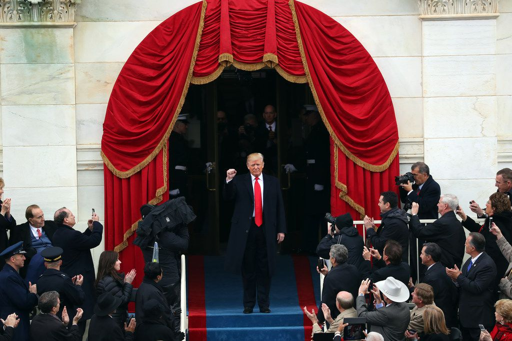 Donald Trump arrives for his inauguration at the Capitol in Washington on Jan. 20, 2017. (Chang W. Lee/The New York Times)