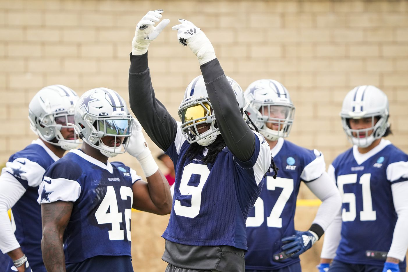 Dallas Cowboys linebacker Jaylon Smith (9) tries to fire up the crowd during a practice at training camp on Sunday, July 25, 2021, in Oxnard, Calif.