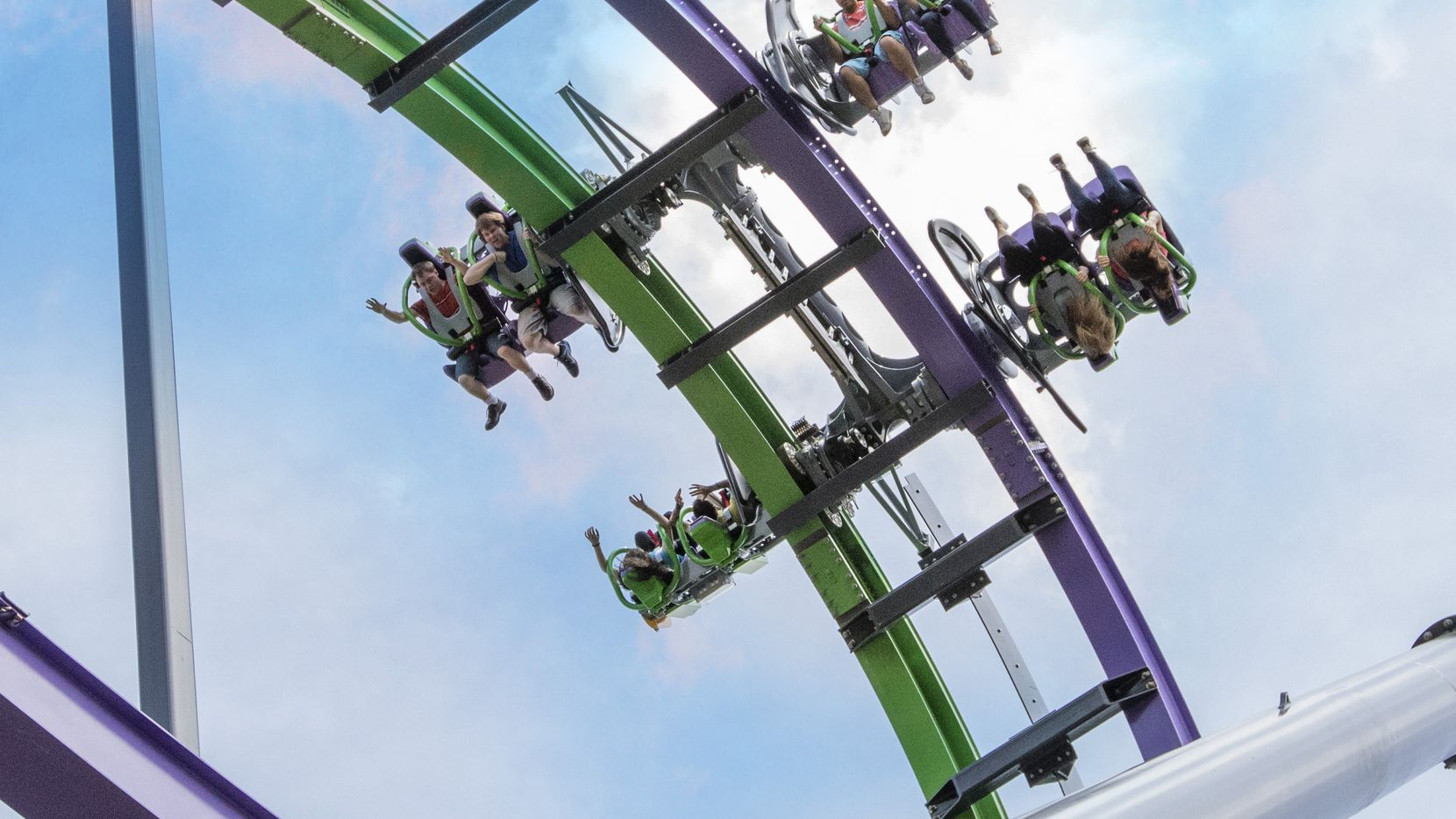 The Joker, a free-fly coaster, made its debut at Six Flags over Texas in 2017.