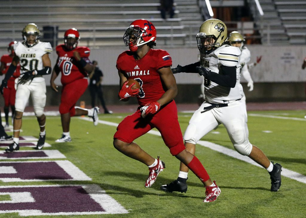 Kimball High RB Cortavious Smith (3) rushes into the end zone for another touchdown during the first half of their high school football game against Irving High at Sprague Stadium in Dallas on Friday, September 13, 2019. (John F. Rhodes / Special Contributor)
