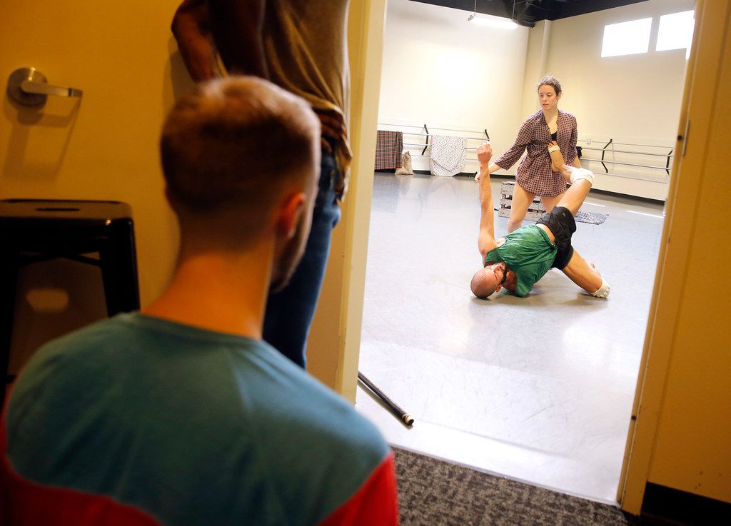 Nicholas Heffelfinger watches dancers perform a scene during a rehearsal of Aladdin, Habibi, a new work by Dark Circles Contemporary Dance artistic director Joshua L. Peugh.