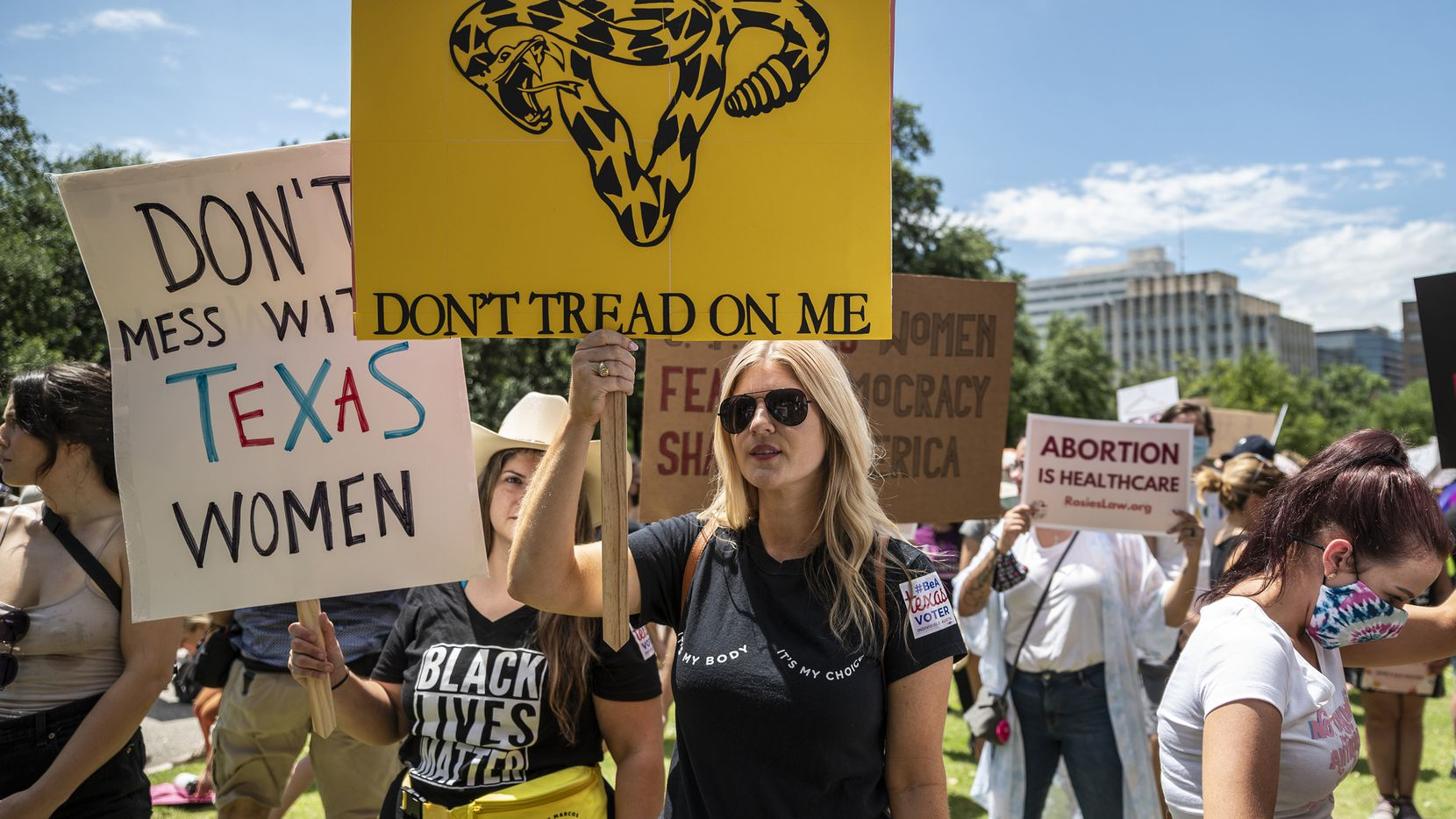 Thousands of protesters gathered outside the Texas Capitol in Austin in May to show their concern about restrictive abortion legislation that was headed to Gov. Greg Abbott's office. The law, which bans almost all abortions in the state, went into effect Sept. 1.