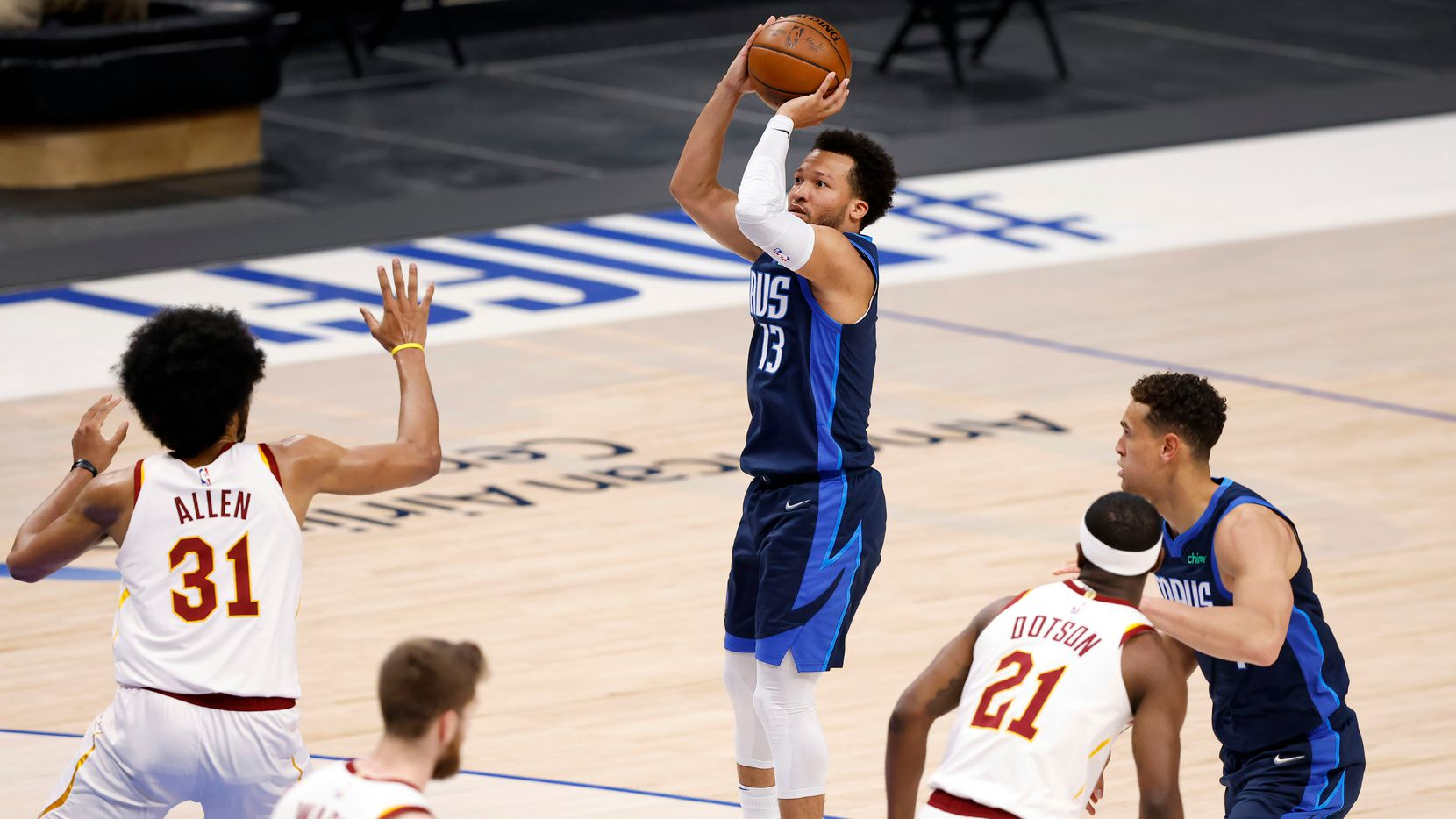 Dallas Mavericks guard Jalen Brunson (13) puts up an open jump shot against the Cleveland Cavaliers during the first quarter at the American Airlines Center in Dallas, Friday, May 7, 2021. (Tom Fox/The Dallas Morning News)