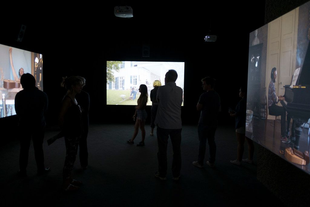"""The Visitors"" video installation by Icelandic performance artist Ragnar Kjartansson shows at the Barbican art gallery in London, England, United Kingdom."