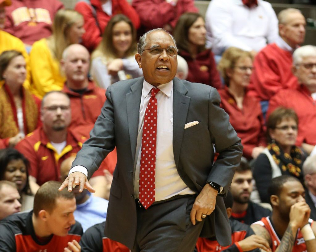 Jan 6, 2016; Ames, IA, USA; Texas Tech Red Raiders head coach Tubby Smith directs his team against the Iowa State Cyclones at James H. Hilton Coliseum. The Cyclones beat the Red Raiders 76-69.  Mandatory Credit: Reese Strickland-USA TODAY Sports
