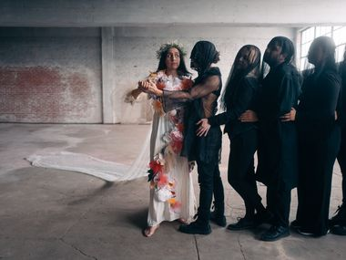 """Elaina Alspach, left, and other cast members of """"The Savage Seconds,"""" an experimental opera by the Danielle Georgiou Dance Group."""