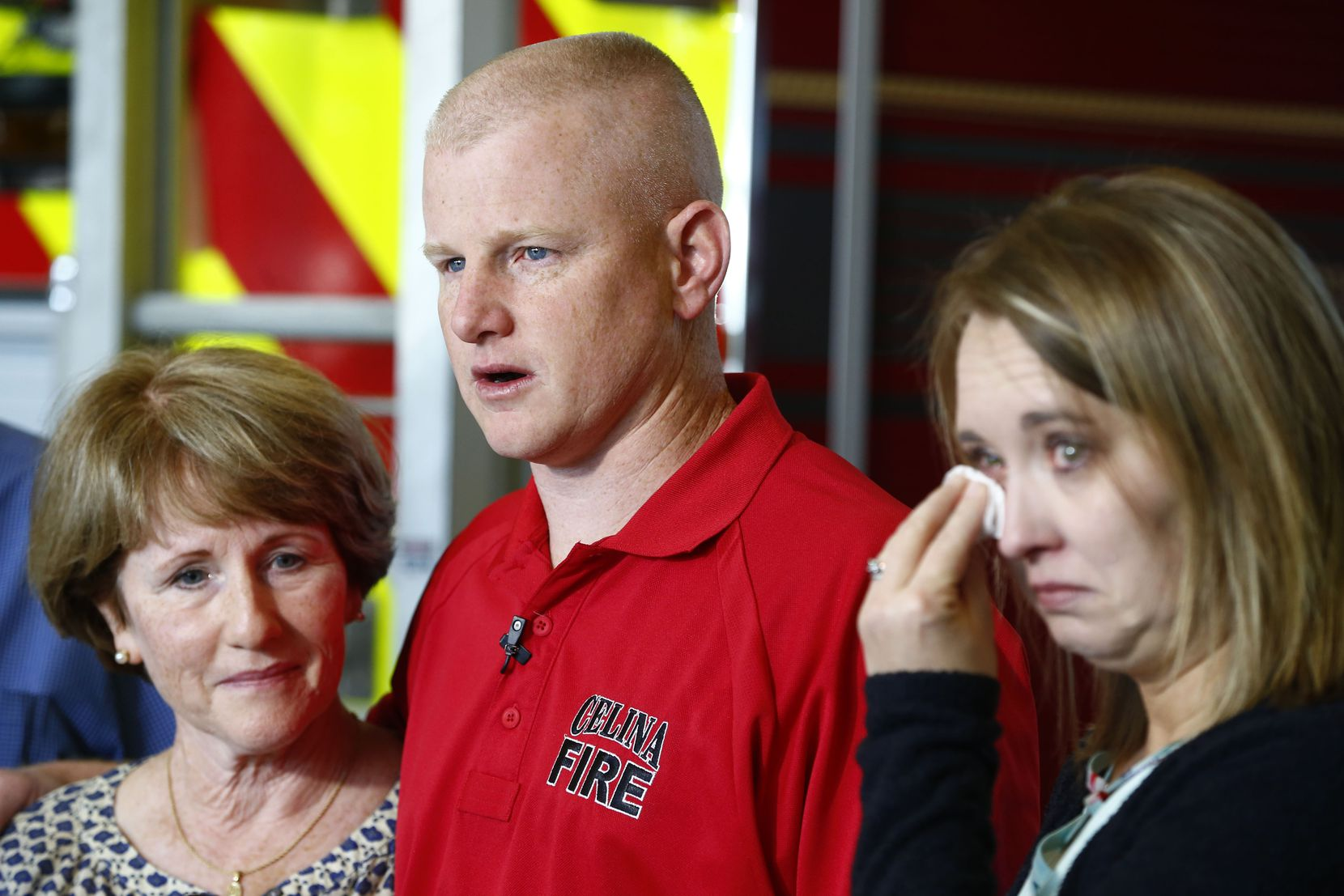 Julie Needum mother, (from left) Andrew Needum and his wife Stephanie Needum talk about their experience on Southwest Airlines flight 1380 to the media at Celina City Fire Department.
