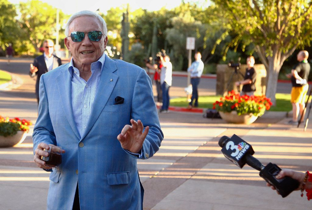 Dallas Cowboys owner Jerry Jones arrives for the opening of the NFL football annual meetings Sunday, March 26, 2017, in Phoenix. (AP Photo/Ross D. Franklin)