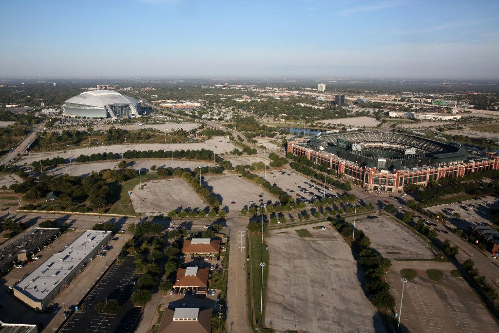 The neighboring Globe Life Park and AT&T Stadium as seen last week.
