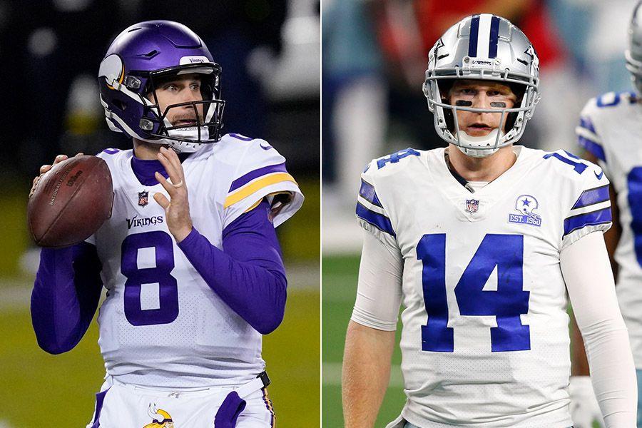 Vikings quarterback Kirk Cousins (left) and Cowboys quarterback Andy Dalton. (Photo credit from left: AP Photo, The Dallas Morning News)