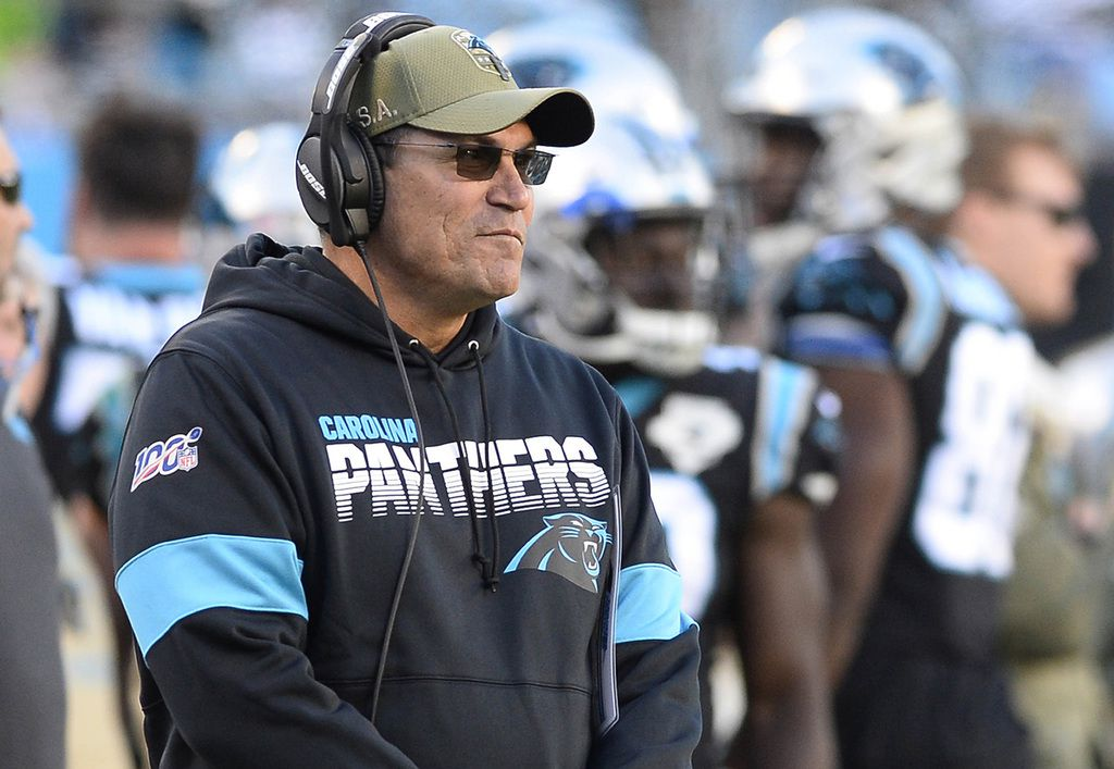 Carolina Panthers head coach Ron Rivera after an interception by the Atlanta Falcons during the second half at Bank of America Stadium in Charlotte, N.C., on November 17, 2019. (David T. Foster III/Charlotte Observer/TNS)