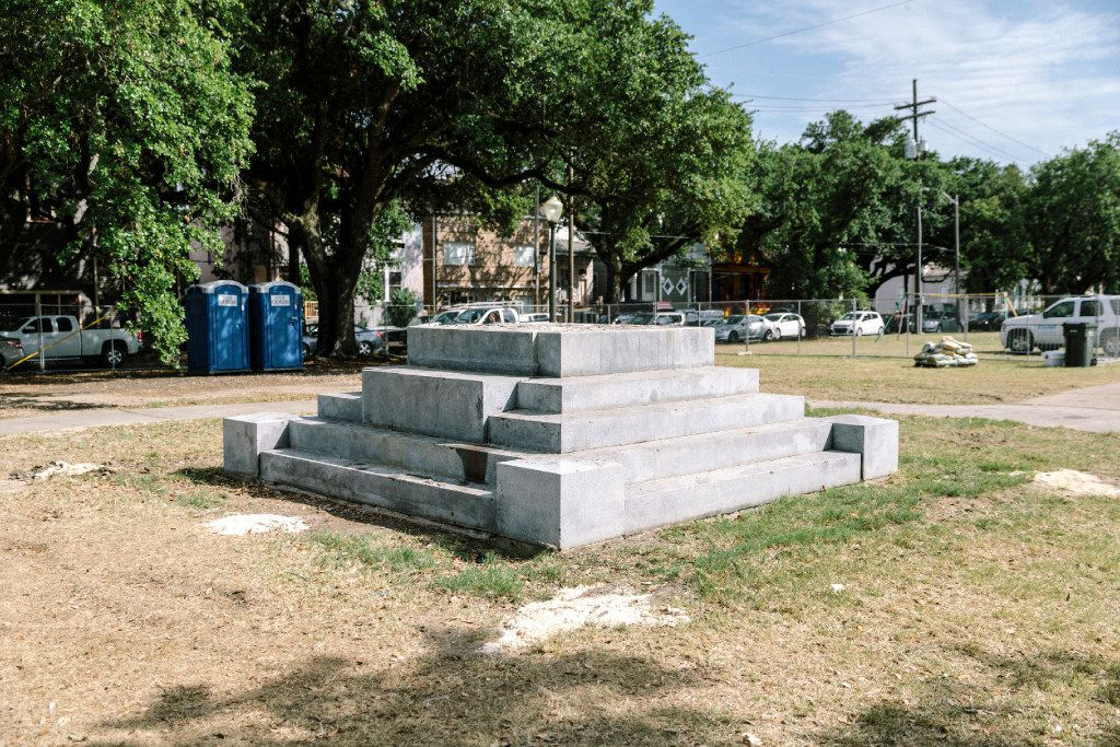 The platform that held the monument to Jefferson Davis in New Orleans. The city is halfway through a bitterly contested plan to remove four Confederate monuments from public spaces, a decision made months after nine black churchgoers were killed in a racially motivated massacre in Charleston, S.C.