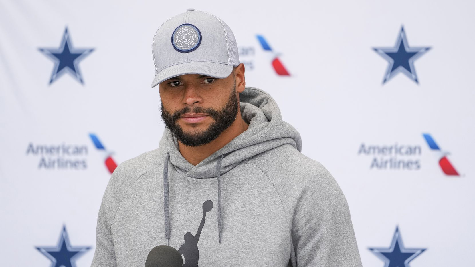 Dallas Cowboys quarterback Dak Prescott addresses reporters following a practice at training camp on Wednesday, Aug. 11, 2021, in Oxnard, Calif. (Smiley N. Pool/The Dallas Morning News)