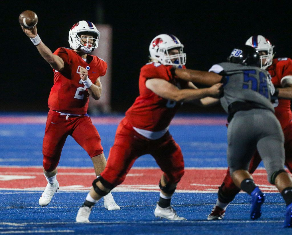 Parish Episcopal quarterback Preston Stone (2) fires off a pass during a high school football game between Parish Episcopal and Trinity Christian-Cedar Hill on Thursday, Sept. 5, 2019 in Dallas. (Ryan Michalesko/The Dallas Morning News)