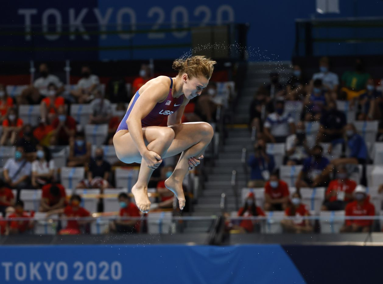USA's Hailey Hernandez dives in the women's 3 meter springboard final during the postponed 2020 Tokyo Olympics at Tokyo Aquatics Centre, on Sunday, August 1, 2021, in Tokyo, Japan. Hernandez finished 9th with a total score of 288.45. (Vernon Bryant/The Dallas Morning News)