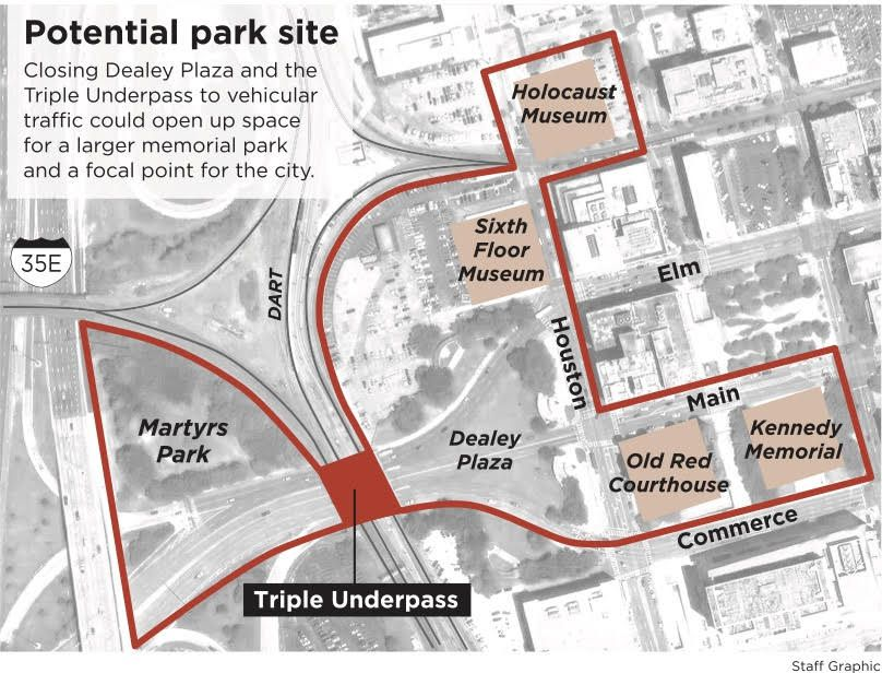 Architecture critic Mark Lamster proposes that Instead of an isolated memorial, the city could incorporate Martyrs Park into a broader memorial park dedicated to victims of racial hate and political violence. (Laurie Joseph)
