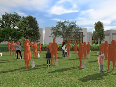 A rendering of the planned May 1 exhibition at NorthPark Center. It will be the largest collection of statues of women ever assembled in one location at one time, according to the organizers of the project.