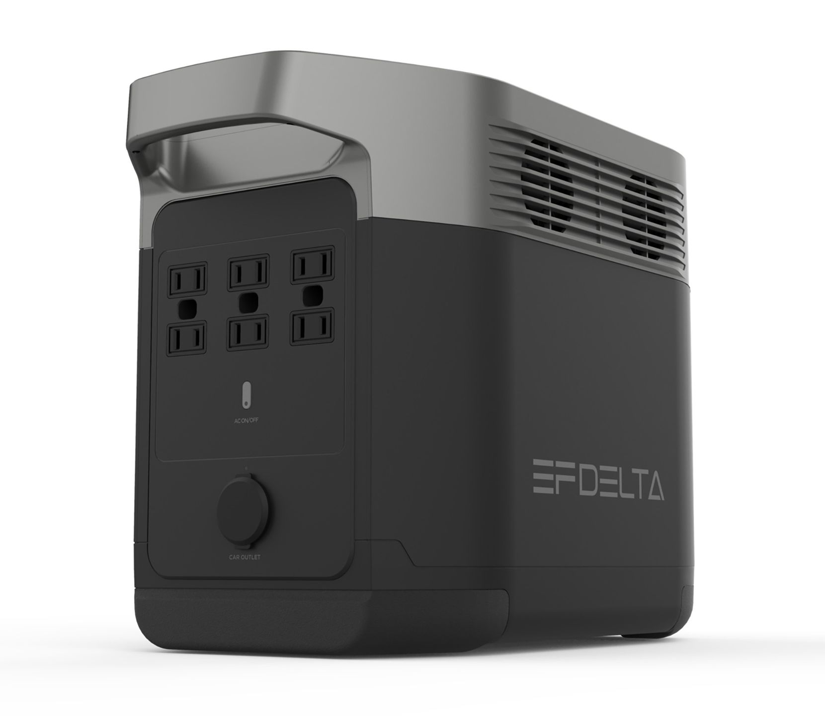The rear of the EcoFlow Delta Portable Power Station has six AC outlets.