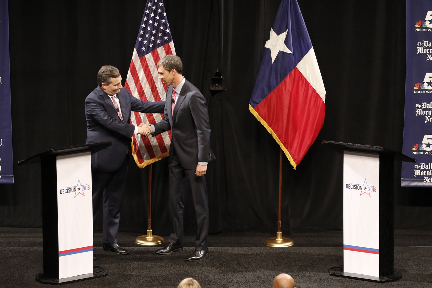 Republican U.S. Senator Ted Cruz and Democratic U.S. Representative Beto O'Rourke in their first debate for Texas U.S. Senate in McFarlin Auditorium at SMU in Dallas on Sept. 21, 2018.